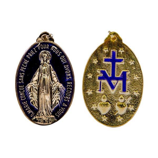 Medalha Milagrosa - Dourada/azul resinado (TAM GG - 45mm)