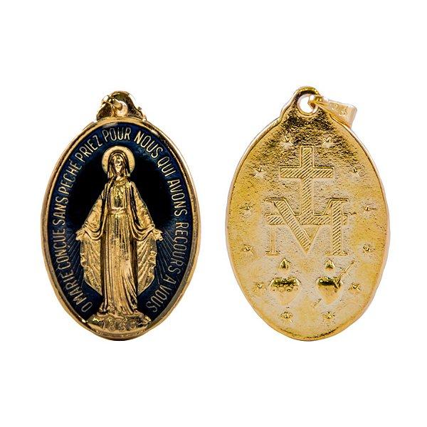 Medalha Milagrosa - Dourada/azul resinado (25mm)