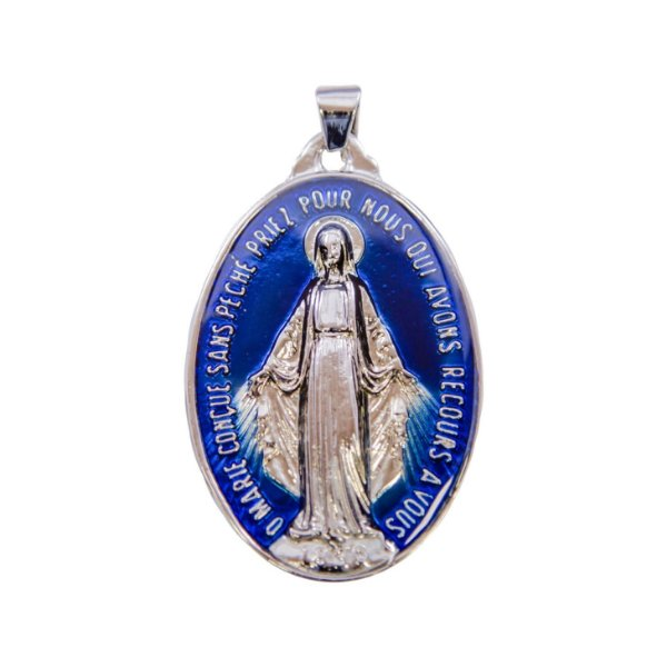 Medalha Milagrosa - Prata velha/azul resinado (TAM GG - 45mm)