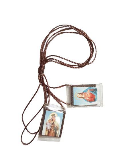 Escapulário Nossa Senhora do Carmo e Sagrado Coração de Jesus.