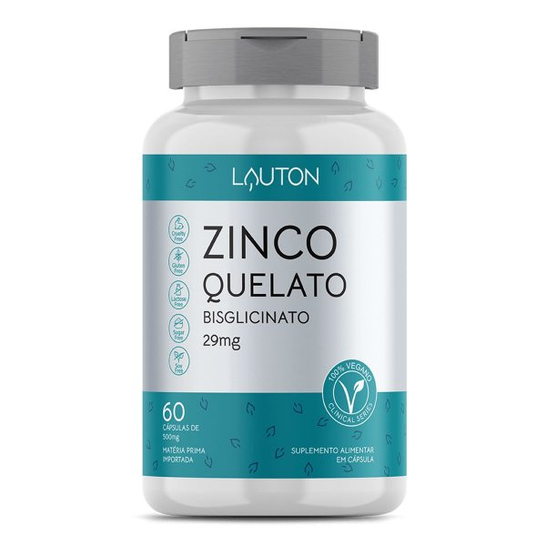 Zinco Quelado - Pote com 60 capsulas de 29mg