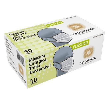 Máscara Cirúrgica Tripla Descartável -  Cx com 50 unidades - Branca - DPK