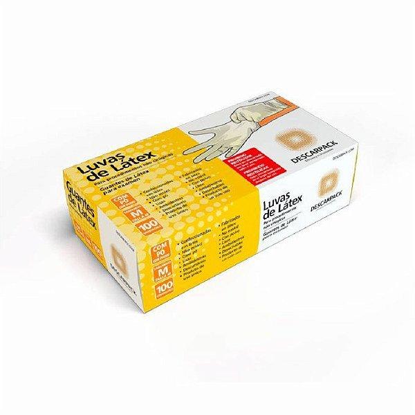 Luva de Látex - Descarpack cx com 100 unidades tamanho M