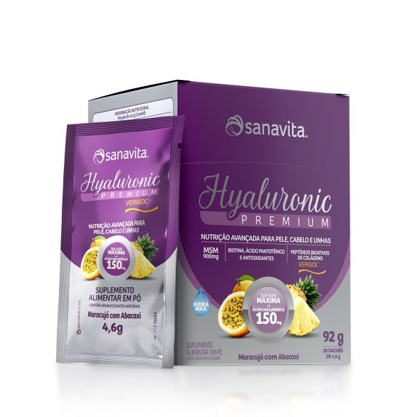 Hyaluronic Premium 150mg - Maracujá c/ abacaxi - Caixa com 20 sachês
