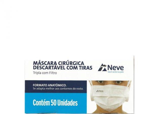 Máscara Cirúrgica Tripla Com Filtro Antiviral CX C/50 - NEVE
