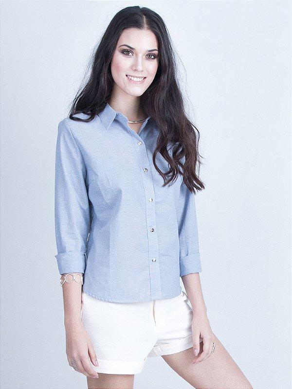 Camisa Manga Azul