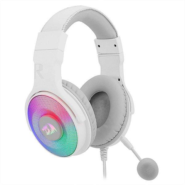 Headset Redragon Pandora USB / RGB / Com adaptador - Branco (H350W-RGB)