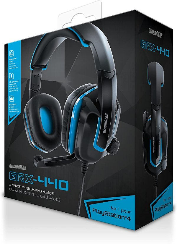 Headset Fones de Ouvido PS4 / XBOX ONE /  SWITCH / PC / CELULAR - DreamGear Grx-440 - Azul