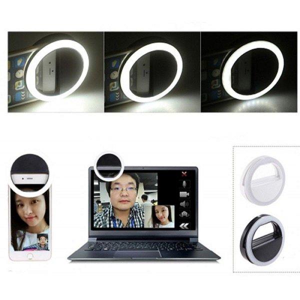 Clipe Anel Led Flash Selfie 3 Níveis De Luz Celular