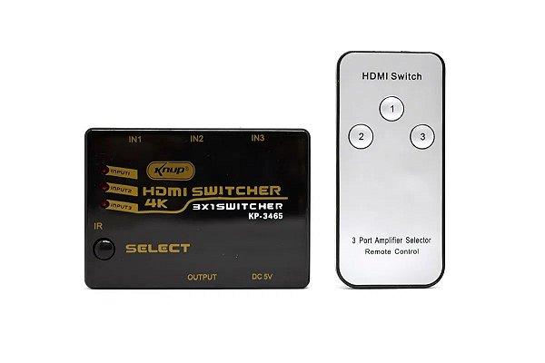 Switch Divisor Hdmi C/ Controle Remoto Knup Kp-3465