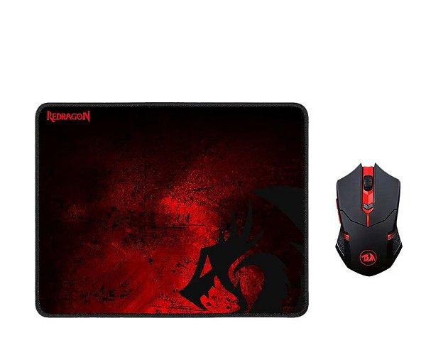 Kit Mousepad + Mouse sem fio Redragon Centrophorus M601 - Preto e vermelho (M601WL-BA)