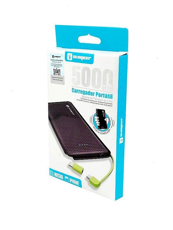 Power Bank Carregador Portatil 5000mAh c/ Cabo v8 e Iphone Sumexr (SX-952)