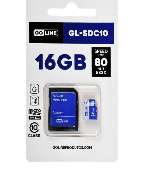 Cartão de Memória Micro SD 16gb Class 10 c/ Adaptador SD - GO Line (GL-SDC10)