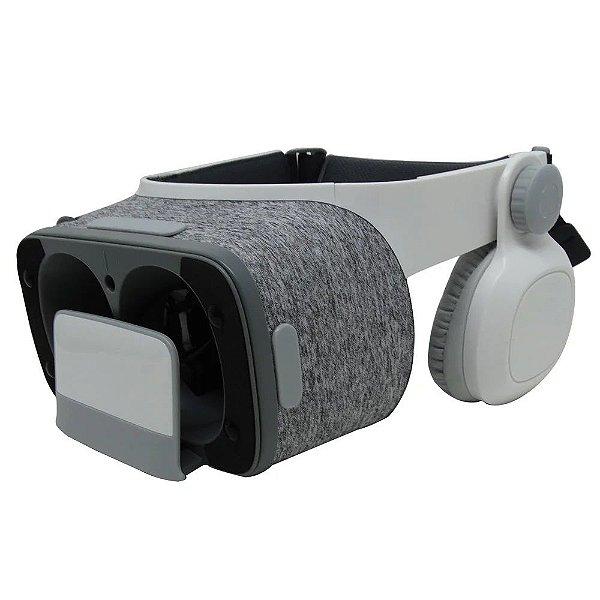 Kit Oculos 3d Glasses Com Fone & Controle - Branco e Cinza