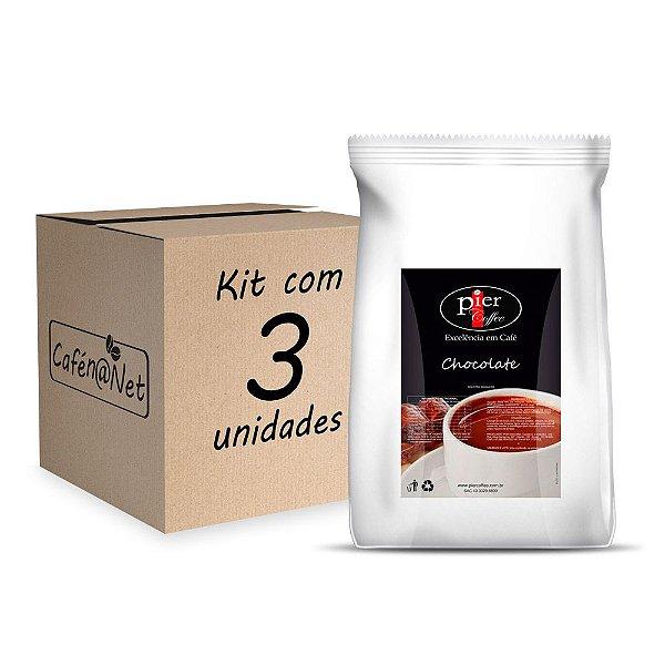 Kit com 3 Chocolate em Pó Pier Coffee com 1kg (cada)