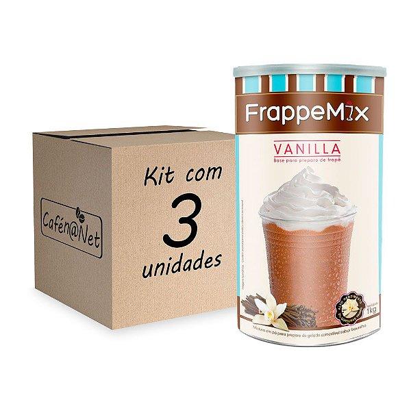 Kit com 3 unidades de Frappemix Flari Baunilha (1kg cada)