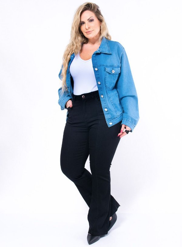 Jaqueta Jeans Delavê Plus Size