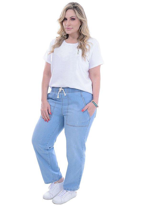Calça Jeans Elástico com Amarração Delavê