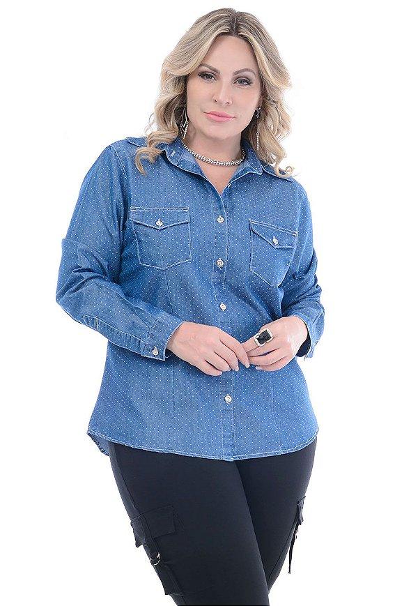 Camisa Jeans Plus Size Poá