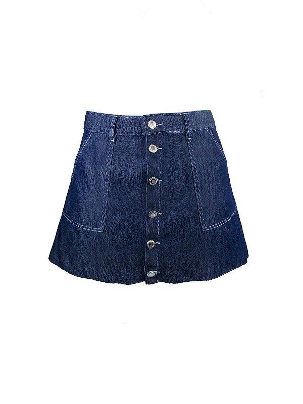 Minissaia Jeans Botões Stone