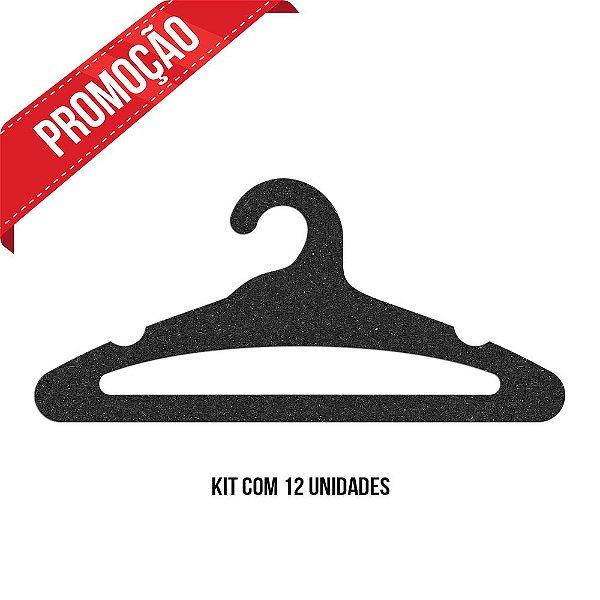 * Leve 12 Pague 10 - Kit Cabide Adulto Aberto /  Preto H / Cs105
