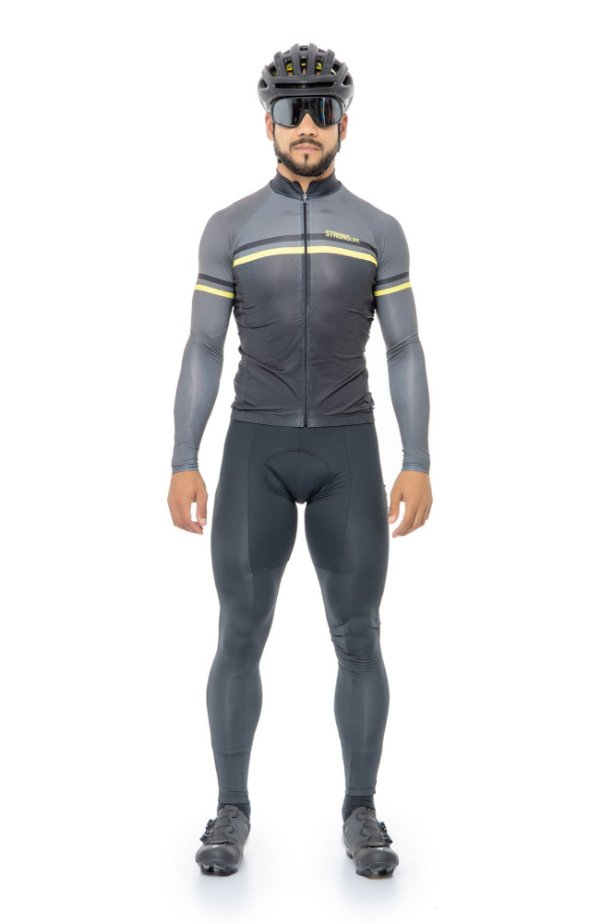 Camisa de Ciclismo Masculina Manga Longa Slim Preto e Cinza