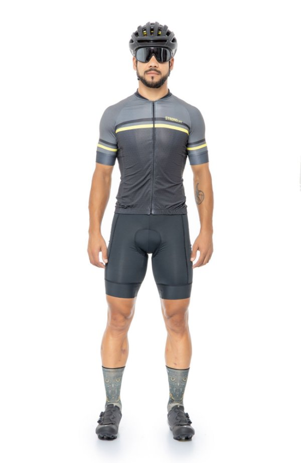 Camisa de Ciclismo Masculina SLIM Preto/ Cinza e Amarelo
