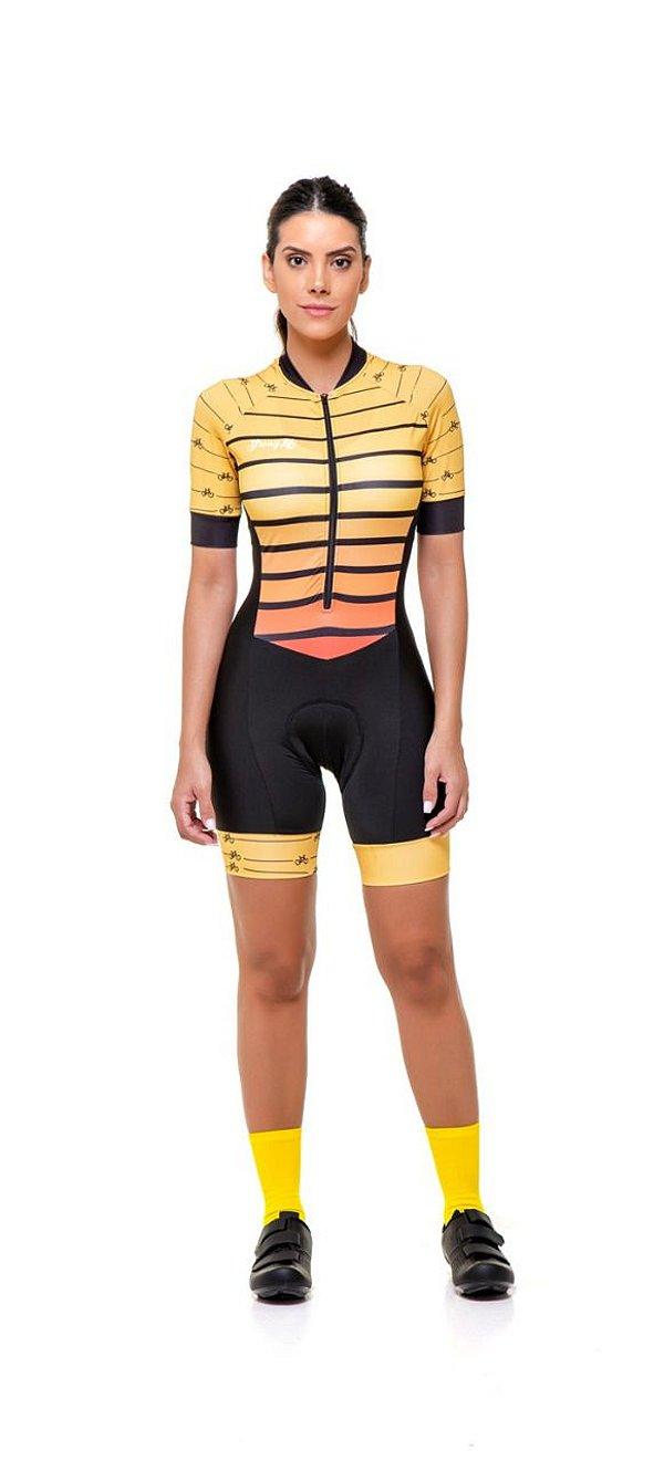 Macaquinho Ciclismo Feminino Colorido - Estampado - Amarelo - Listras S216-85