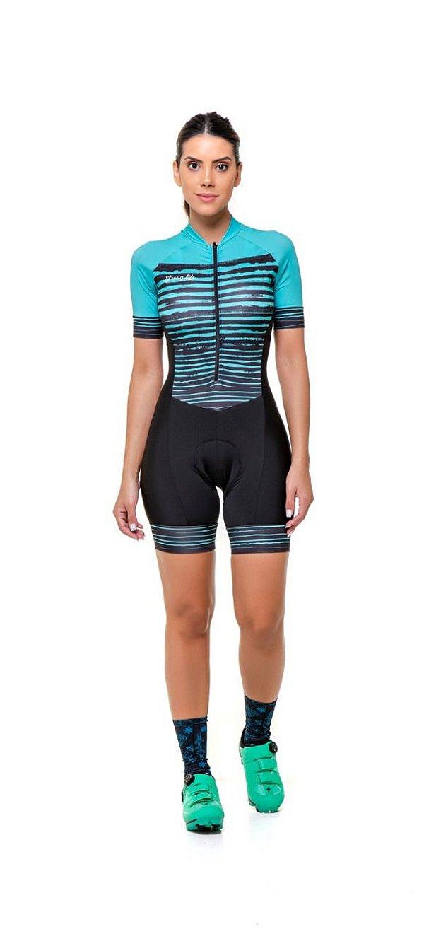 Macaquinho Ciclismo Feminino Colorido - Estampado  Verde Azulado - Listras Assimétrica S216-82