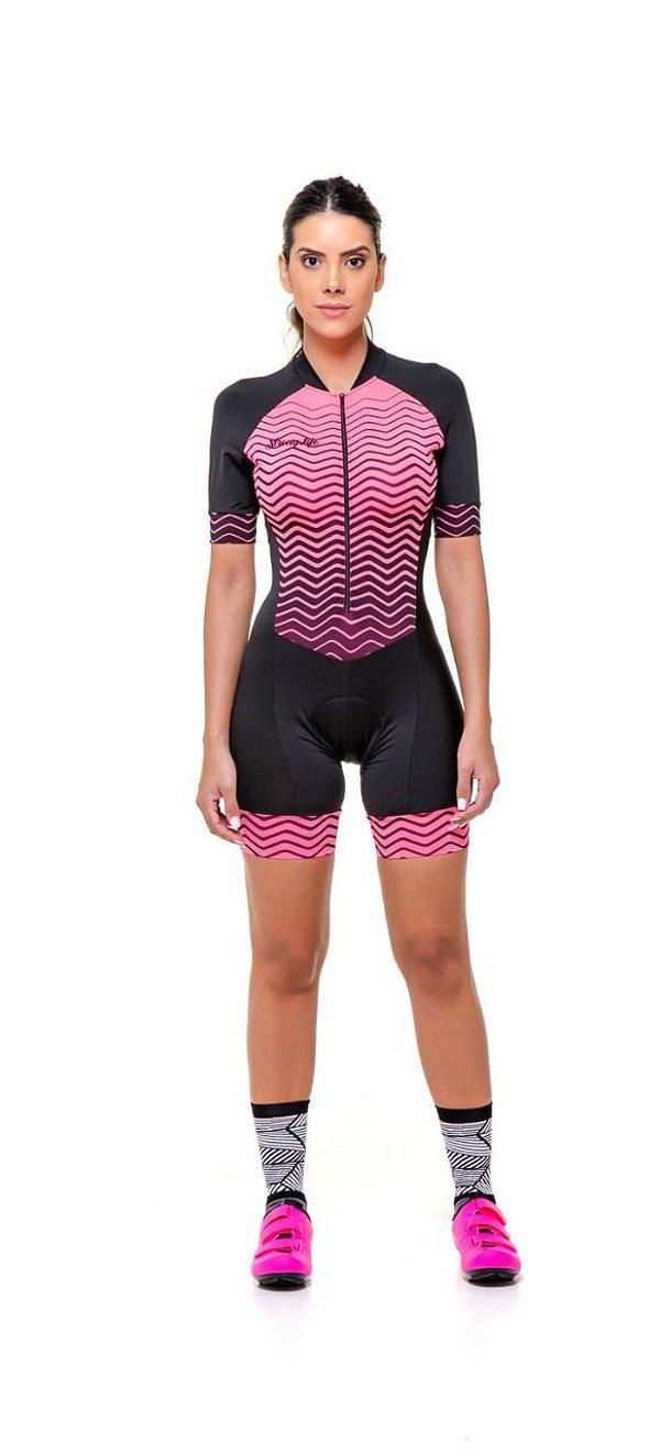 Macaquinho Ciclismo Feminino Colorido - Estampado Zig Zag - neon S216-80