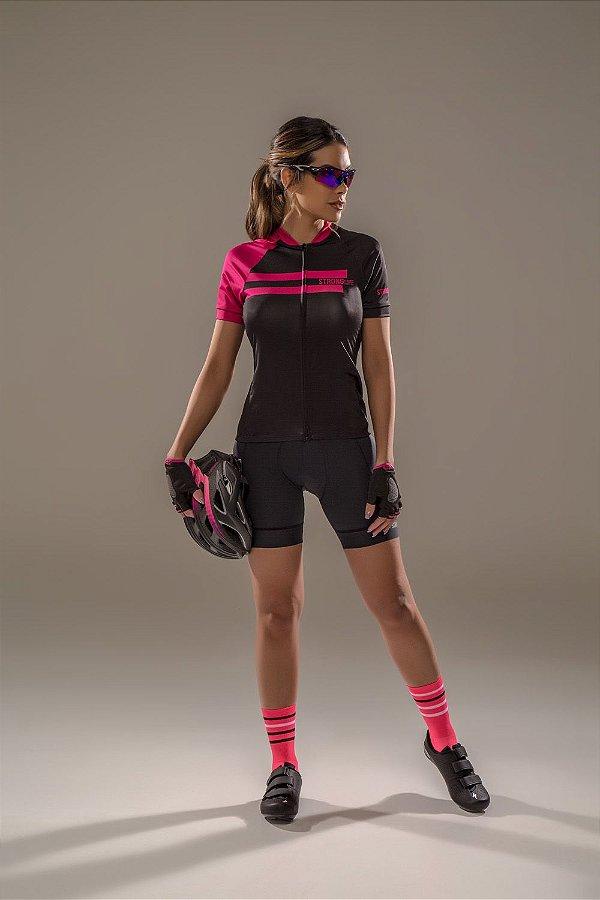 Camisa para Ciclismo Feminina SLIM Colorida/  Estampada - Preto e Rosa