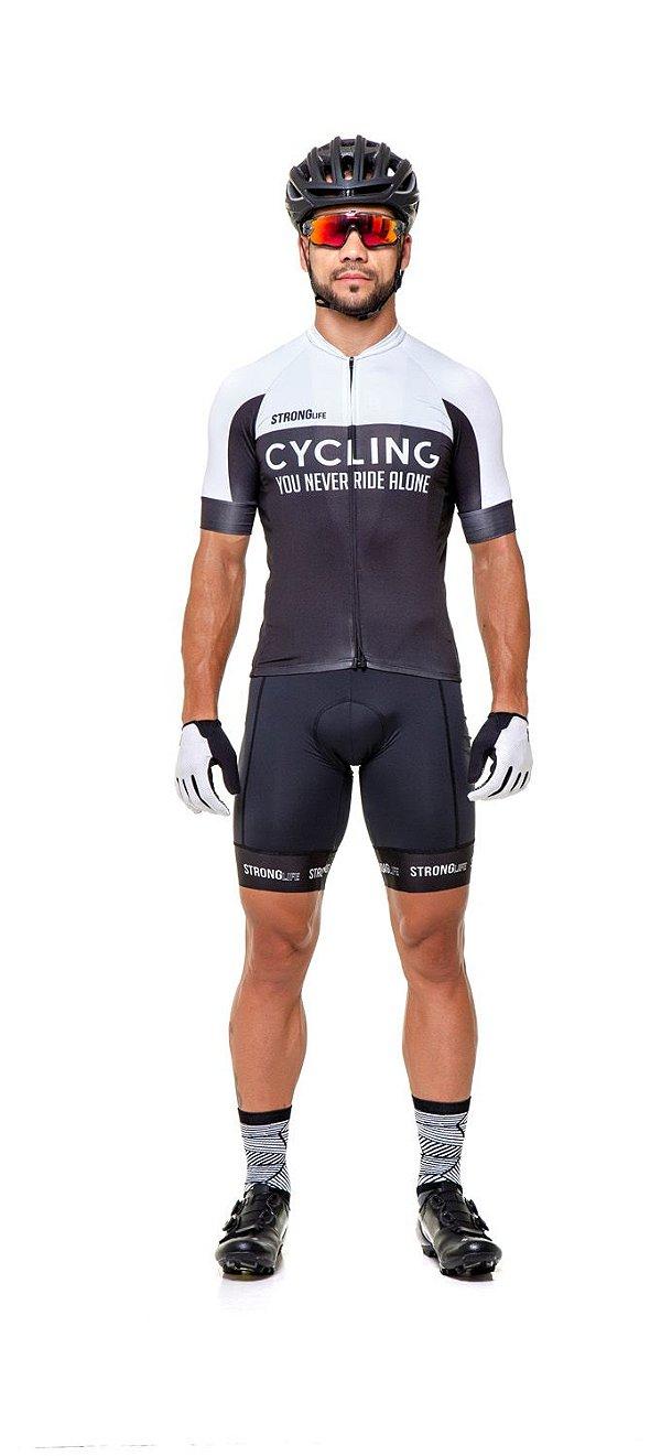 Camisa de Ciclismo Masculina SLIM - Preto e branco S126-76