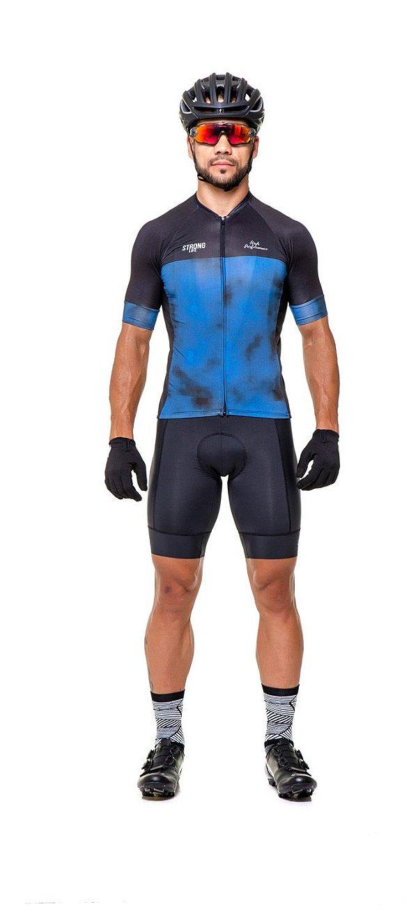 Camisa de Ciclismo Masculina Slim- Preto e Azul- Preto e Vermelho