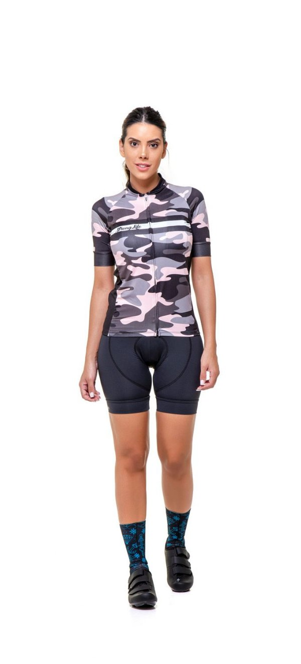 Camisa de Ciclismo Feminina Slim Colorida Estampada - Camuflado S125-78
