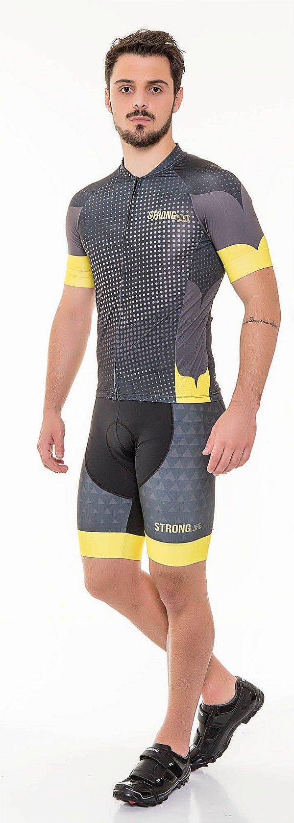 Camisa de Ciclismo Masculina SLIM - Preto com amarelo, Laranja ou Azul S126-44