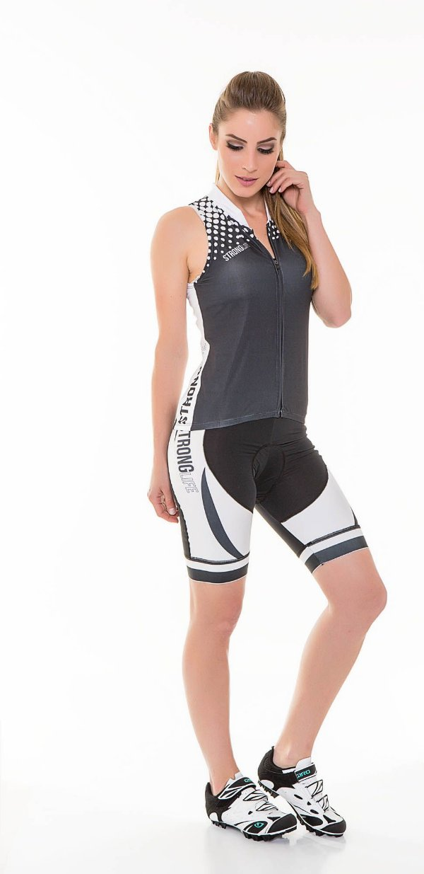 Colete para Ciclismo Feminino Colorido/ Estampado - Preto e Branco S127