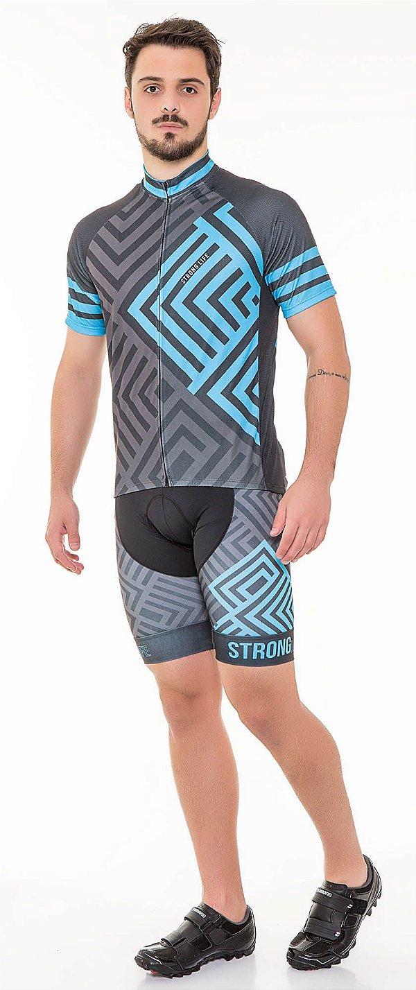 Camisa Dry para Ciclismo Masculina - Preto com Azul