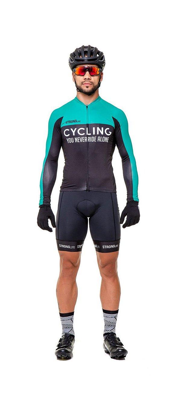 Camisa de Ciclismo Masculina Manga Longa Slim - preto e verde/  preto e branco S146-76