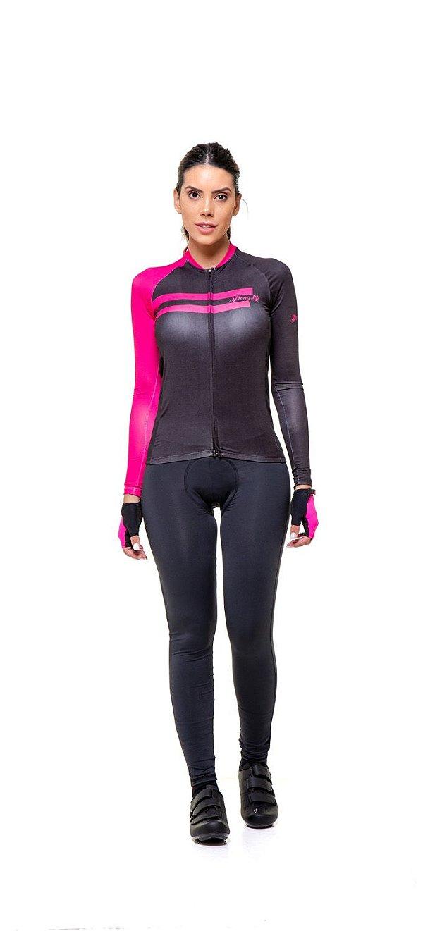 Camisa de Ciclismo Feminina Manga Longa Slim - Preto e Rosa S150-63