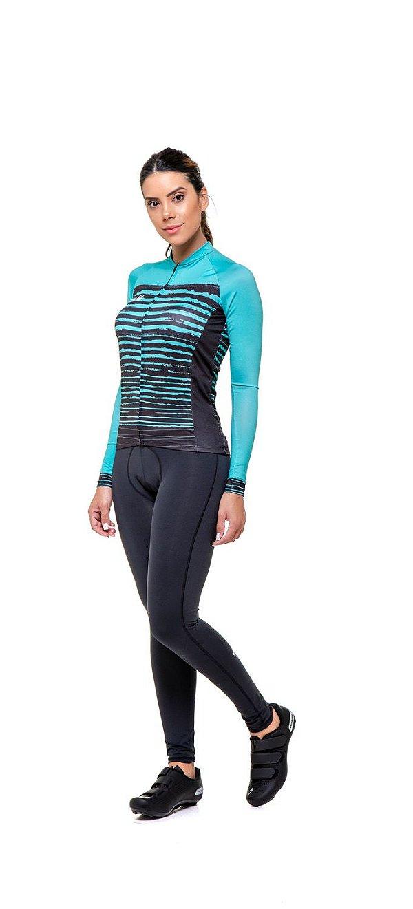 Camisa de Ciclismo Feminina Manga Longa Slim - Preto e Verde água S150-82