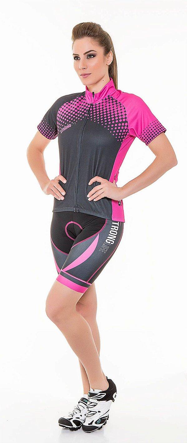 Camisa Dry para Ciclismo Masculina - Preto com Rosa