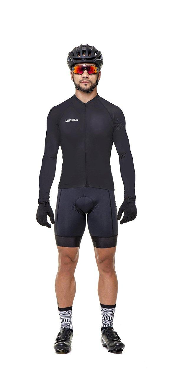 Camisa de Ciclismo Masculina Manga Longa Poliamida UV50+ S169