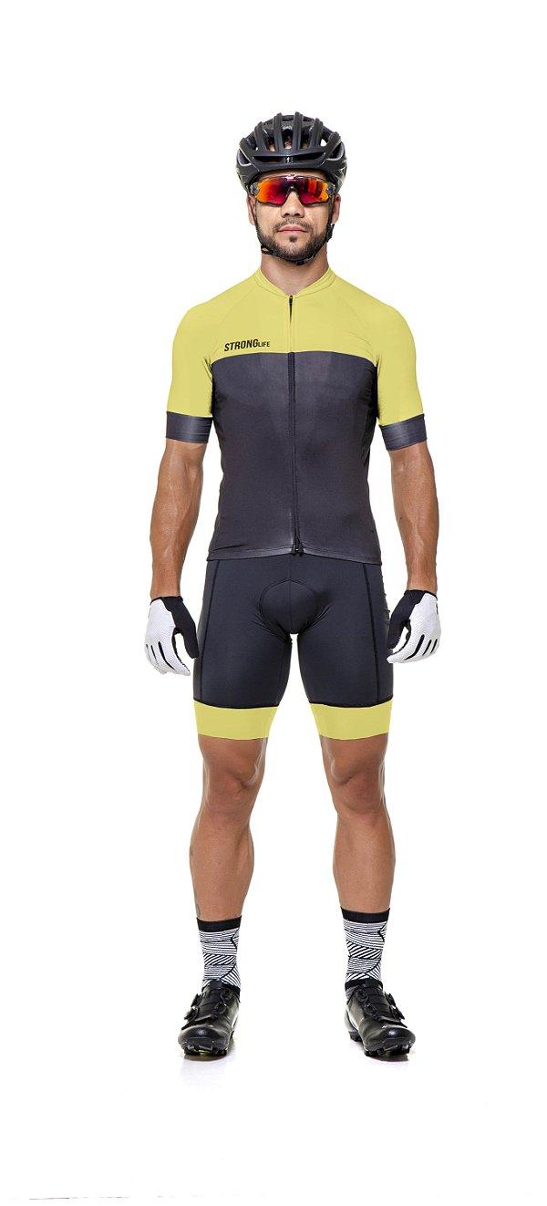 Camisa de Ciclismo Masculina SLIM - Preto com Amarelo S126-92