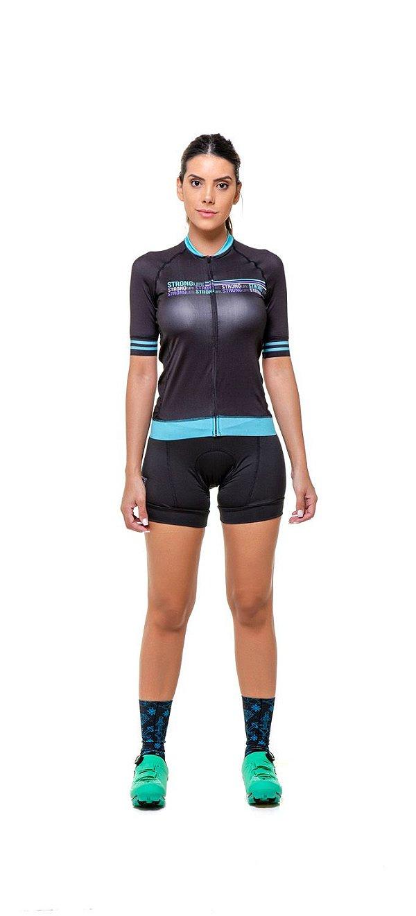 Camisa de Ciclismo Feminina Slim Colorida Estampada - Preto com Azul