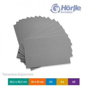 Pacote 10 folhas - Cartão Cinza H