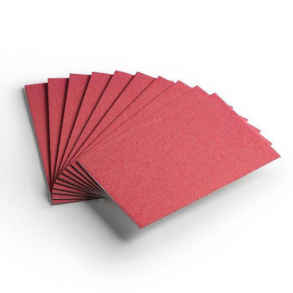 Pacote 10 folhas - Cartão Color Face - Vermelho