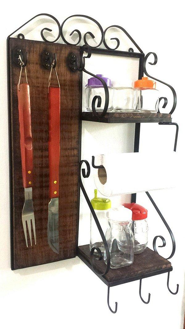 Porta Temperos e Talheres para Churrasqueira ou Cozinha, Rústico em Ferro e Madeira .
