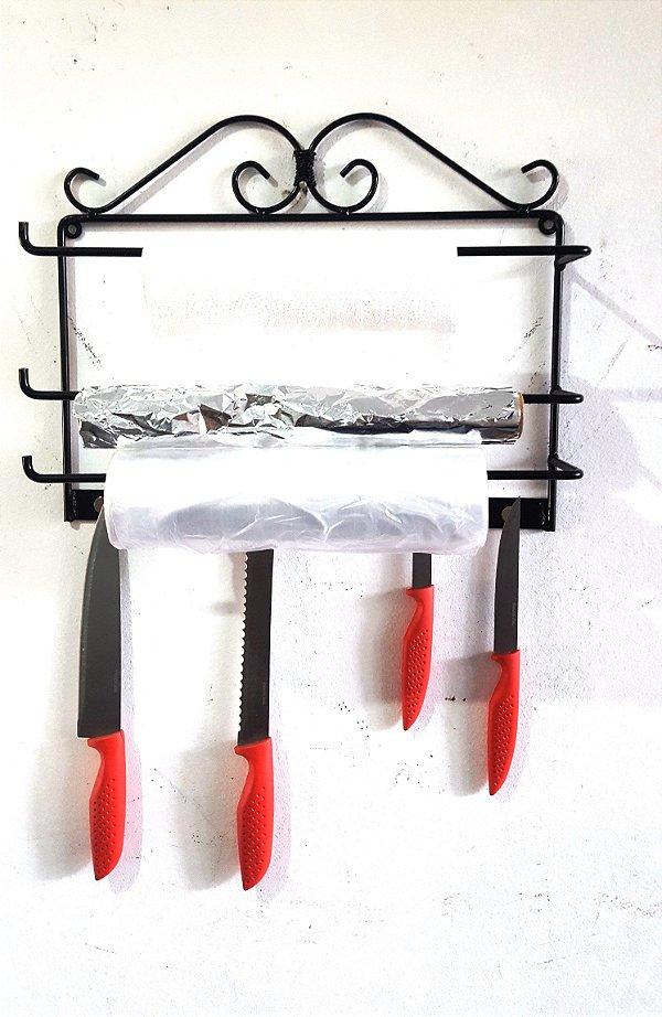 Porta facas Com suporte para rolos de papel 40 X 25 cm
