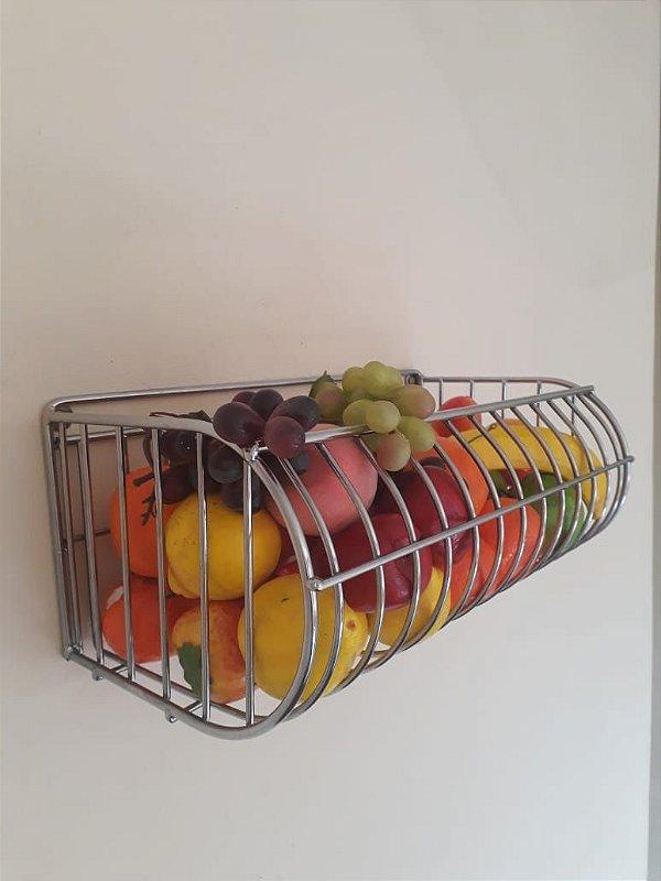Fruteira de Parede Cromada 40x20cm