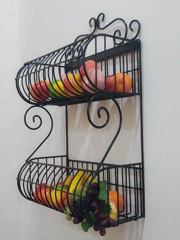 Fruteira de Parede c/ dois Cestos 40 x 20cm